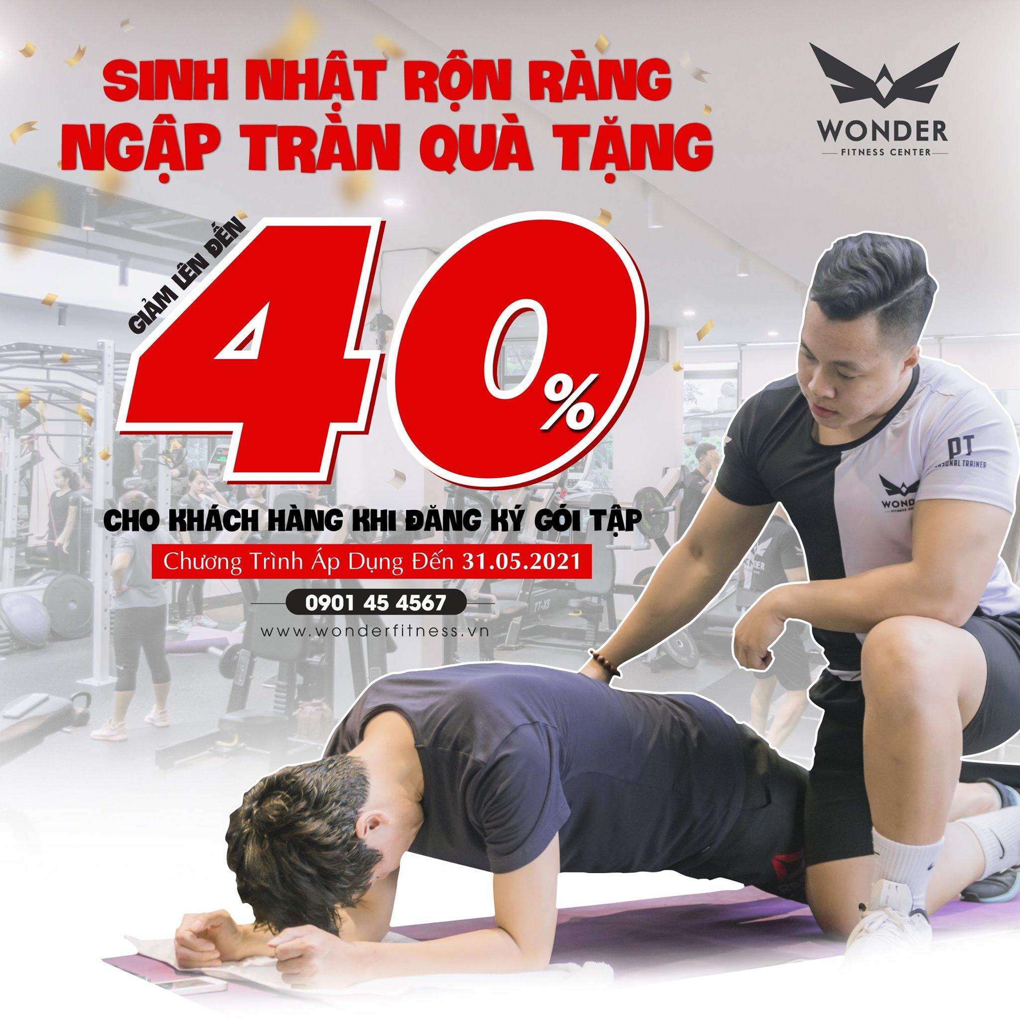 Mừng sinh nhật – Giảm giá đến 40% tại gym cao cấp Wonder Fitness Center